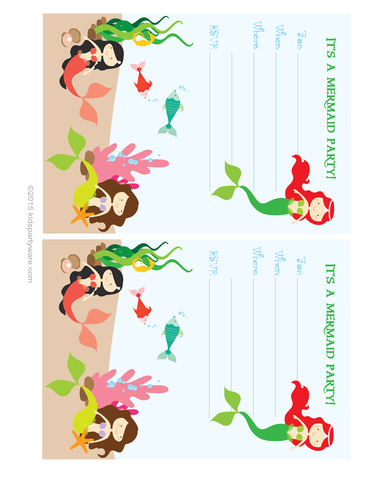 Kids Party Supplies: Mermaid Invitation Free Printable Download - Mermaid Birthday Invitations Free Printable