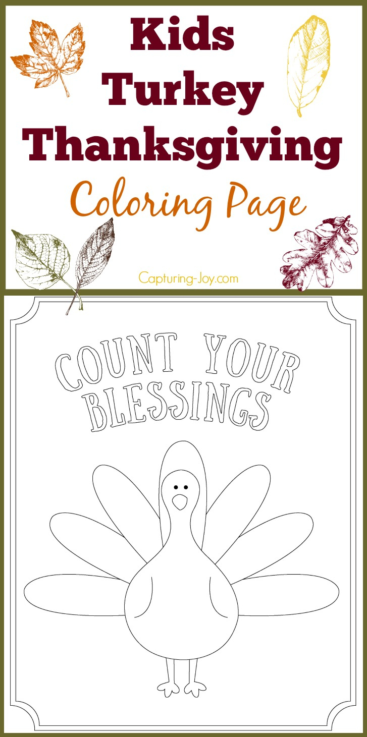 Kids Turkey Thanksgiving Coloring Page: Count Your Blessings - Free Printable Kindergarten Thanksgiving Activities