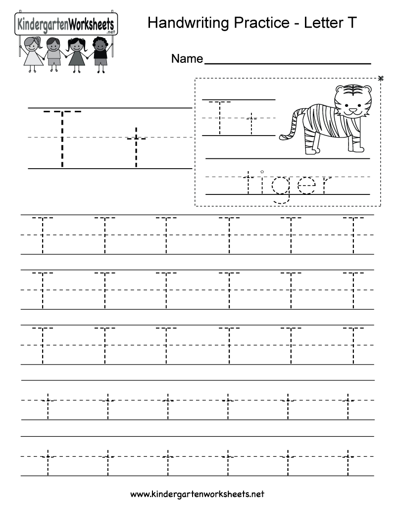 Kindergarten Free Printable Letter T Writing Practice Worksheet For - Free Printable Spanish Alphabet Worksheets