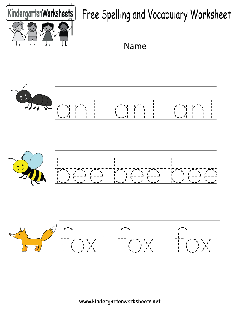 Kindergarten Free Spelling And Vocabulary Worksheet Printable - Free Printable Spelling Worksheets