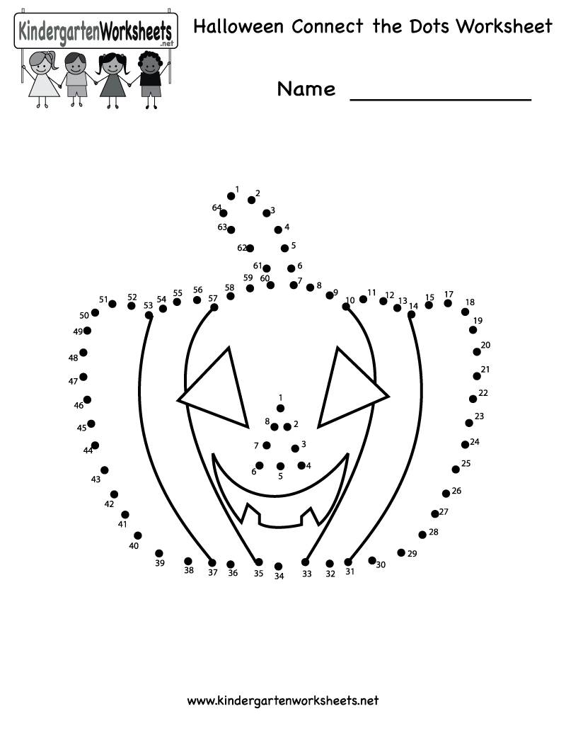 Kindergarten Halloween Connect The Dots Worksheet Printable | Free - Free Printable Halloween Worksheets