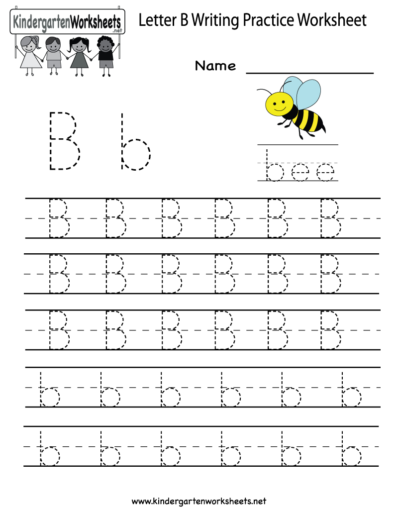 Kindergarten Letter B Writing Practice Worksheet Printable | Things - Free Printable Letter Writing Worksheets