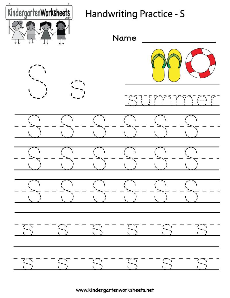 Kindergarten Letter S Writing Practice Worksheet Printable | G - Preschool Writing Worksheets Free Printable