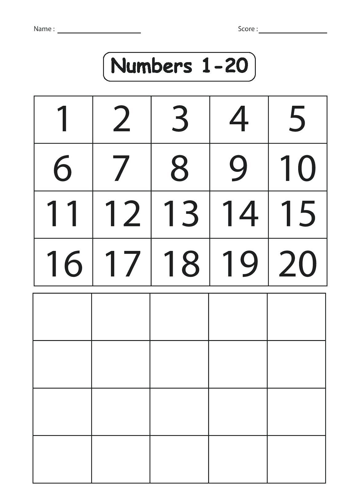 Kindergarten Number Worksheets 1 20 Worksheets Numbers 1 For - Free Printable Counting Worksheets 1 20