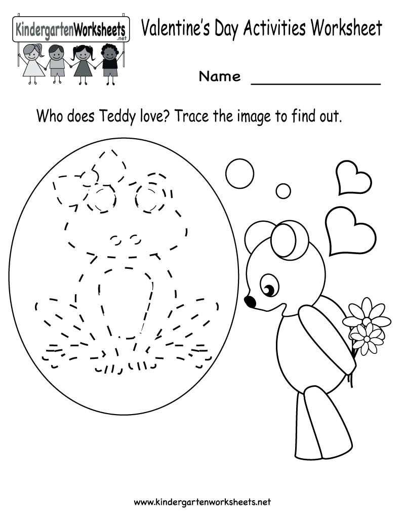 Kindergarten Valentine's Day Activities Worksheet Printable   Cute - Free Printable Preschool Valentine Worksheets