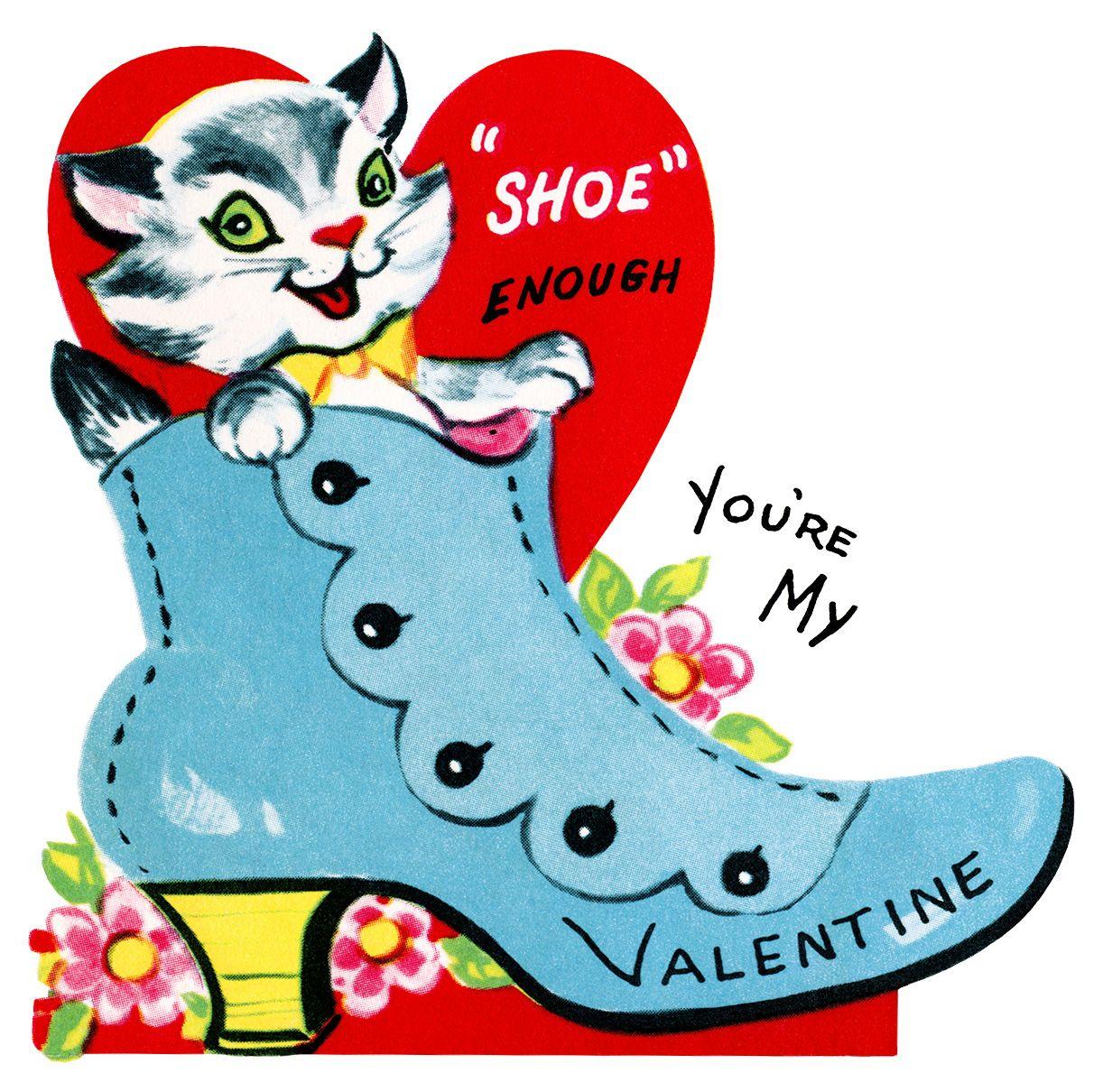 Kitten In Shoe Valentine, Vintage Valentine Clip Art, Retro - Free Printable Valentine Graphics