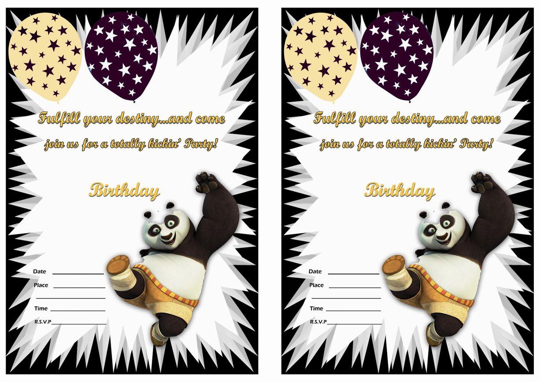 Kung Fu Panda Birthday Invitations – Birthday Printable   Po Kung Fu - Panda Bear Invitations Free Printable