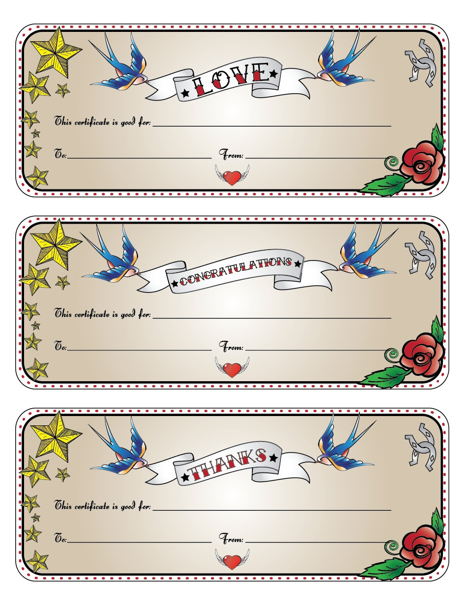 Latest Tattoo Gift Card | Gallery Of Tattoes For Men And Women - Free Printable Tattoo Gift Certificates