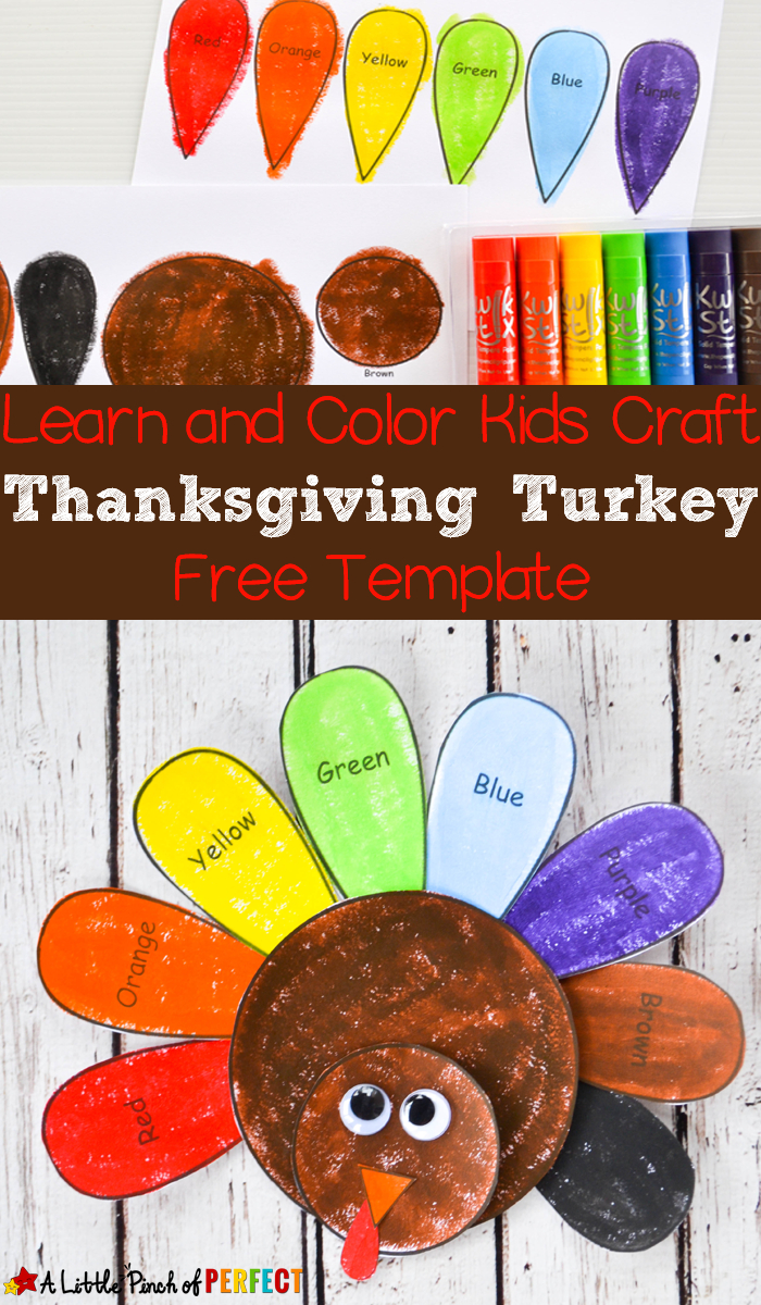 Learn And Color Thanksgiving Turkey Craft And Free Template For Kids - - Free Printable Turkey Craft