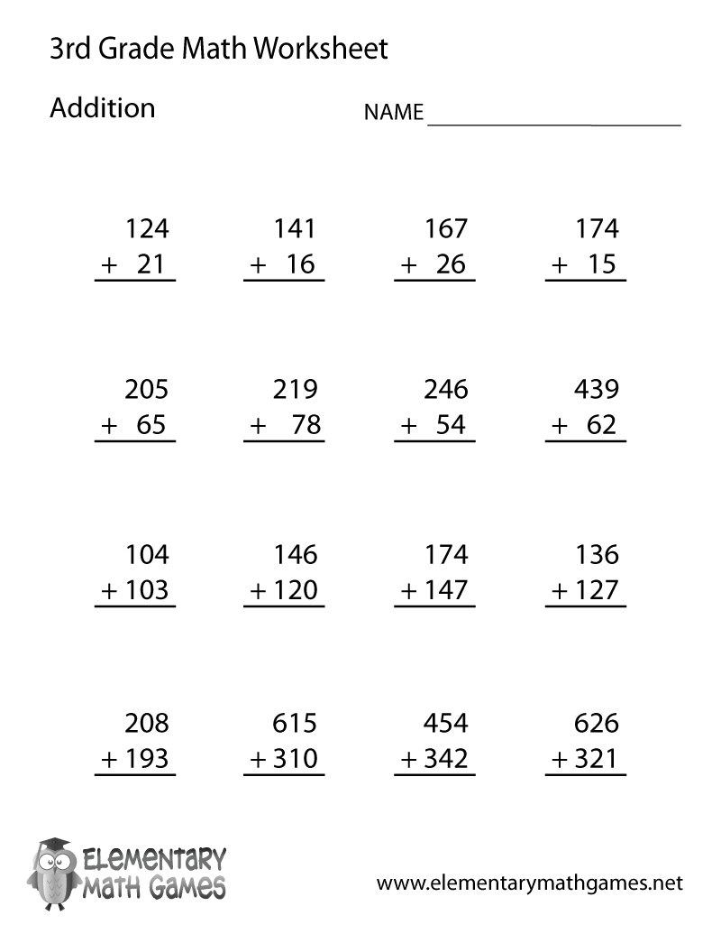 Learn And Practice Addition With This Printable 3Rd Grade Elementary - Free Printable Math Worksheets For 3Rd Grade