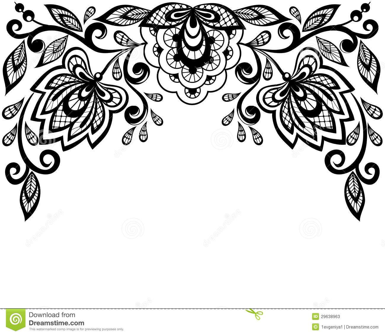 Leaves Clip Art Black And White Border | Clipart Panda - Free - Free Printable Lace Stencil