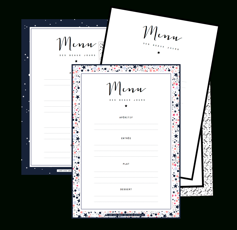 Les Menus De Noël À Compléter Et Imprimer | Gift Things | Printable - Free Printable Menu