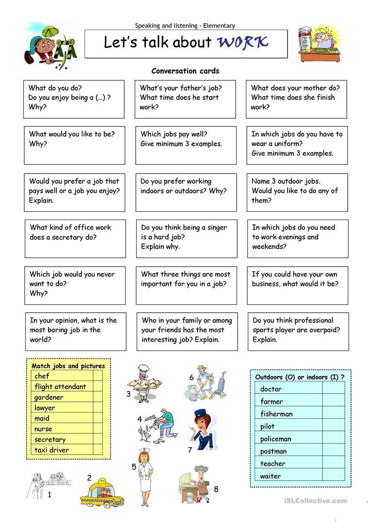 Let´s Talk About Work Worksheet - Free Esl Printable Worksheets Made - Free Printable English Conversation Worksheets