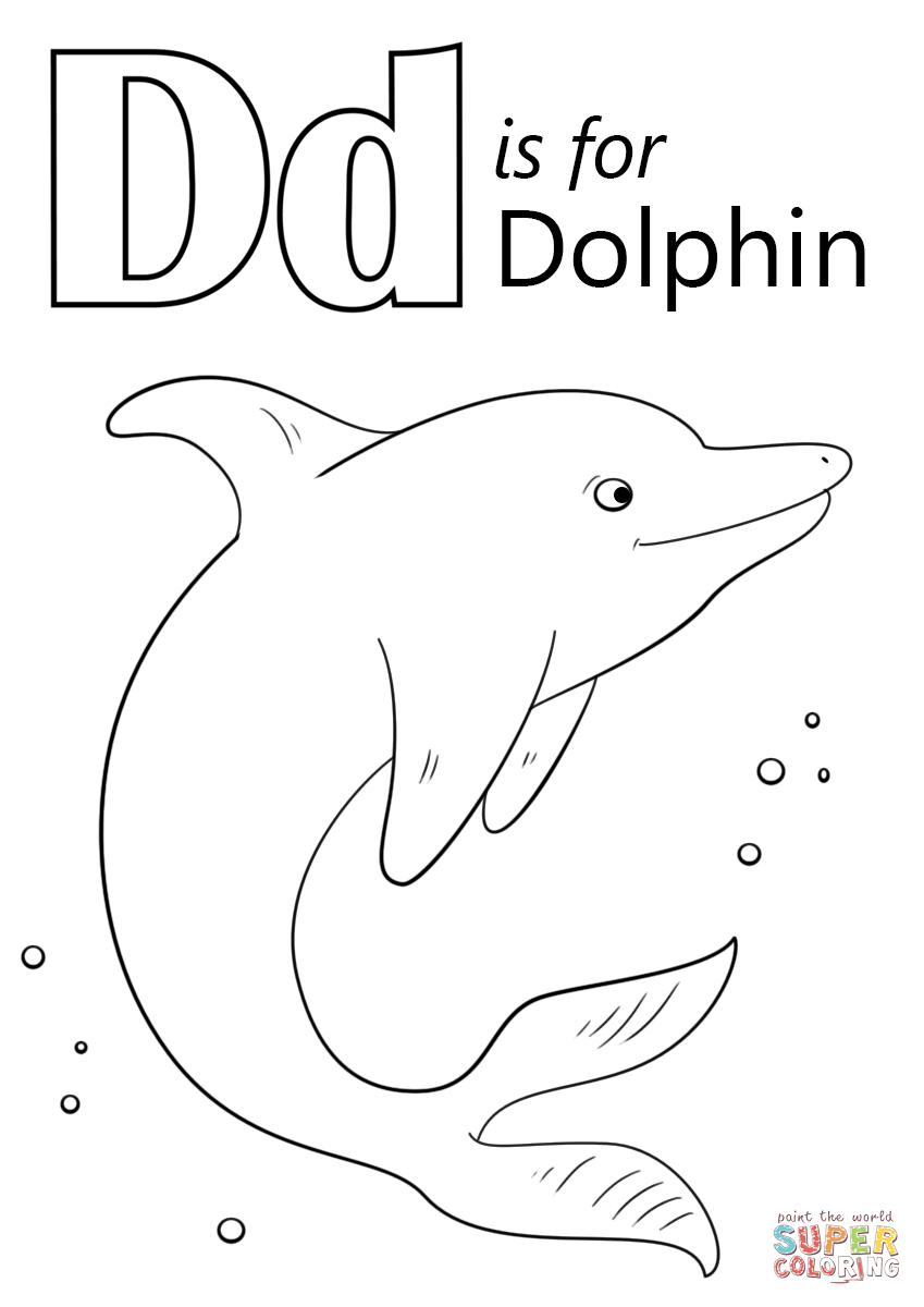 Letter D Is For Dolphin Coloring Page | Free Printable Coloring Pages - Dolphin Coloring Sheets Free Printable