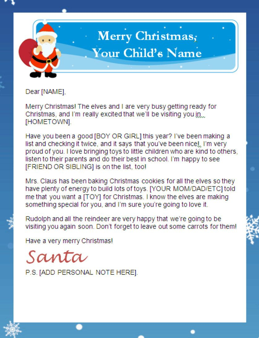 Letter From Santa Templates Free   Printable Santa Letters - Free Printable Christmas Letters From Santa