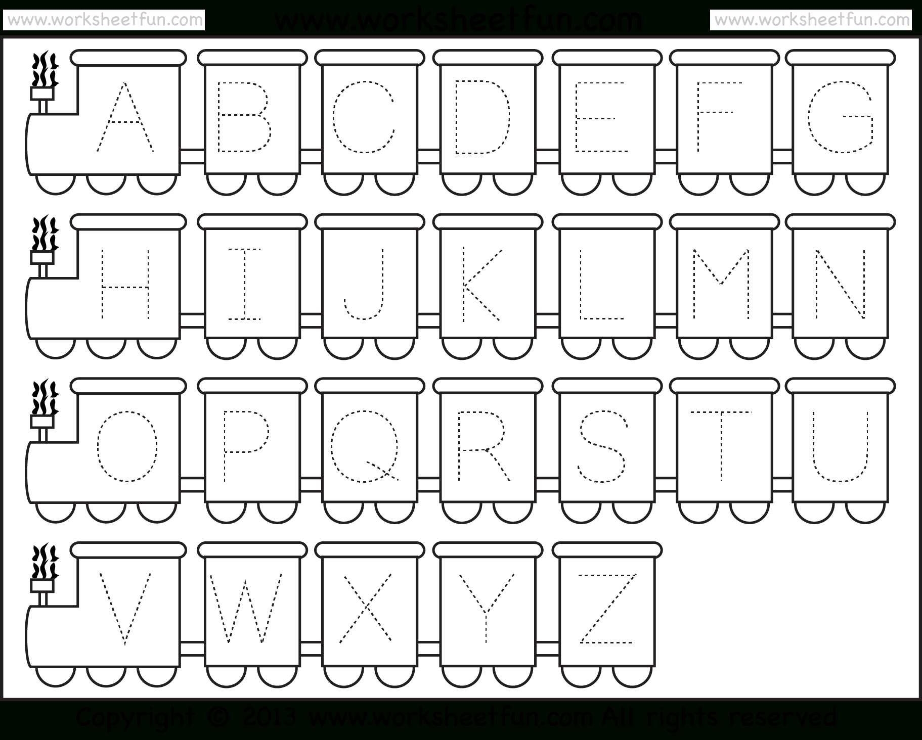 Letter Tracing Worksheet – Train Theme / Free Printable Worksheets - Free Printable Alphabet Tracing Worksheets