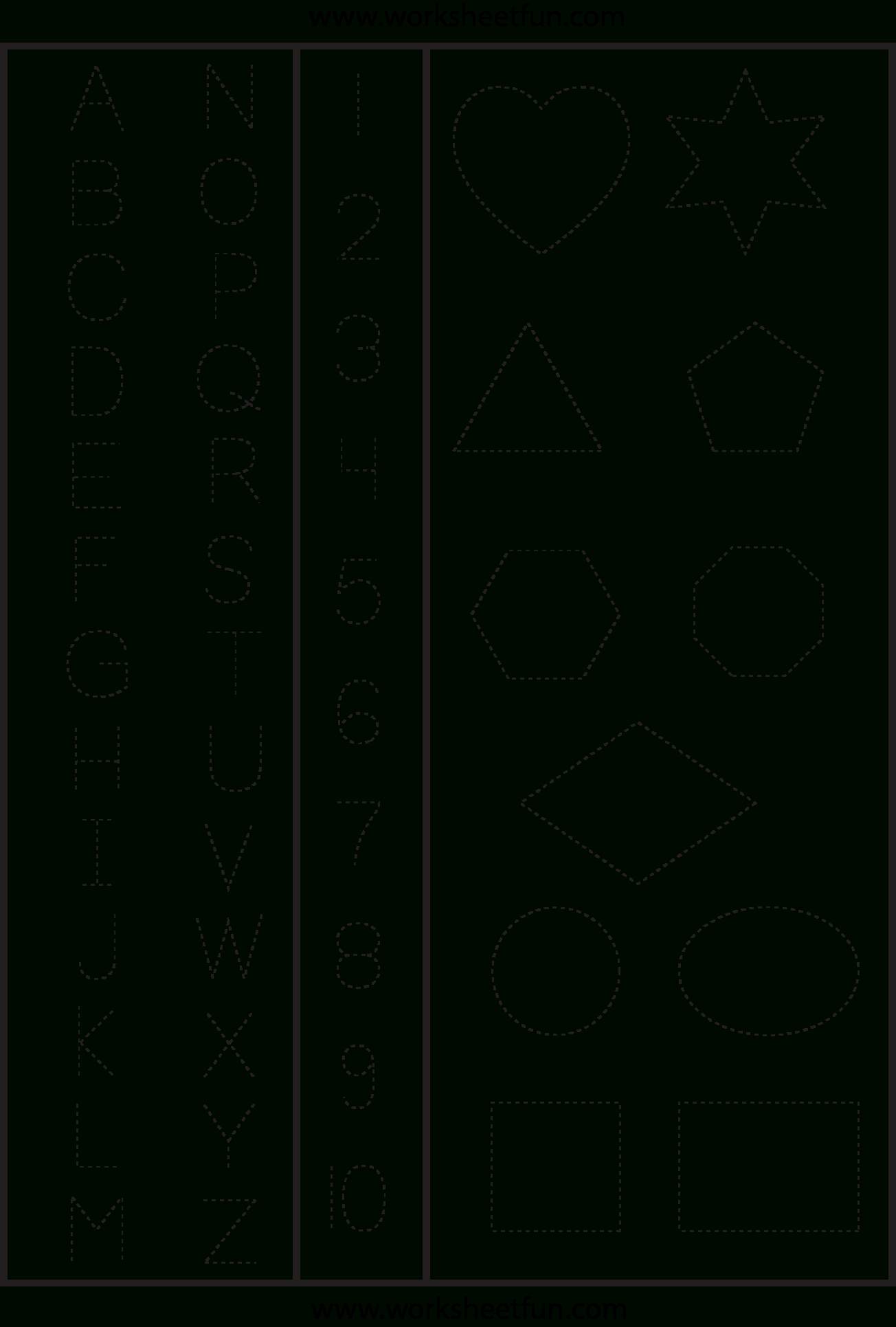 Letters Numbers & Shapes Tracing Worksheet | Printable Worksheets - Free Printable Letters And Numbers
