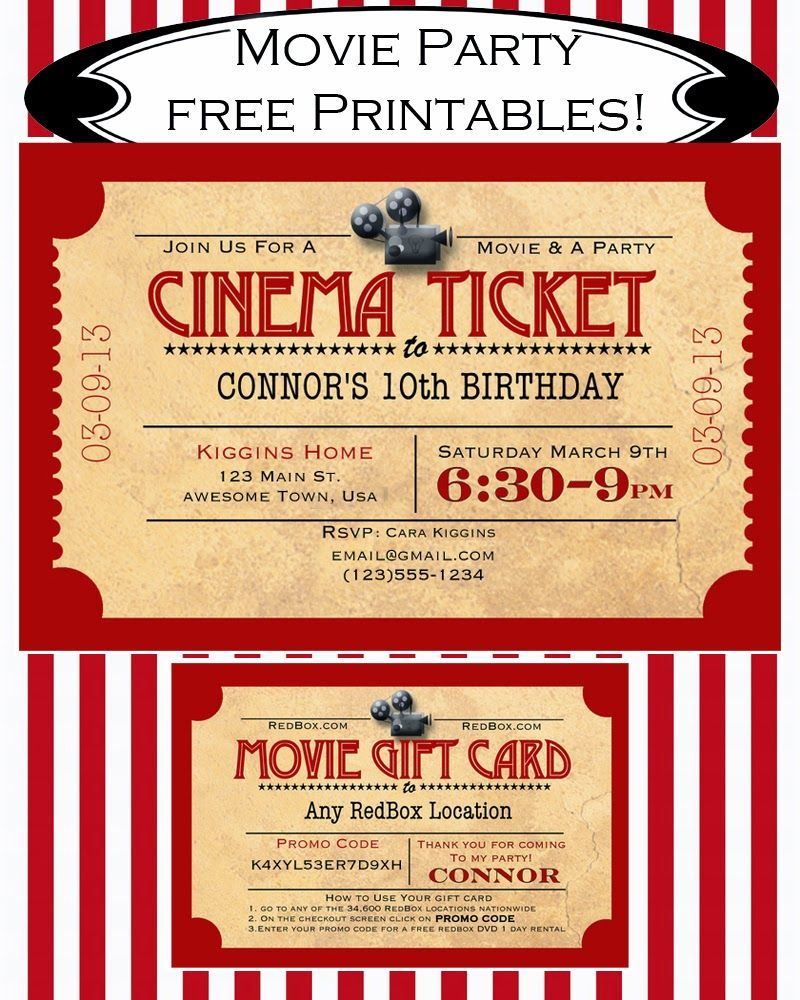 Like Mom And Apple Pie: A Summer Of Movies! Free Printables! Free - Free Printable Movie Ticket Birthday Party Invitations