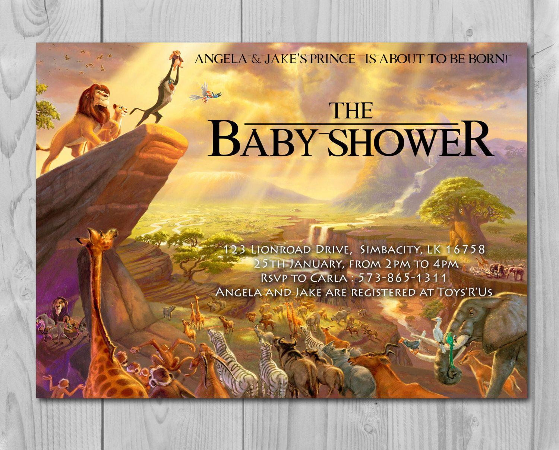 Lion King Baby Shower Invitation, Jungle Invitation, Disney Invite - Free Printable Lion King Baby Shower Invitations