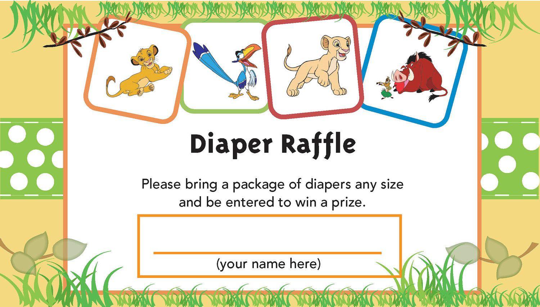 Lion King Printable Diaper Raffle Ticket | Baby Shower | Pinterest - Free Printable Lion King Baby Shower Invitations