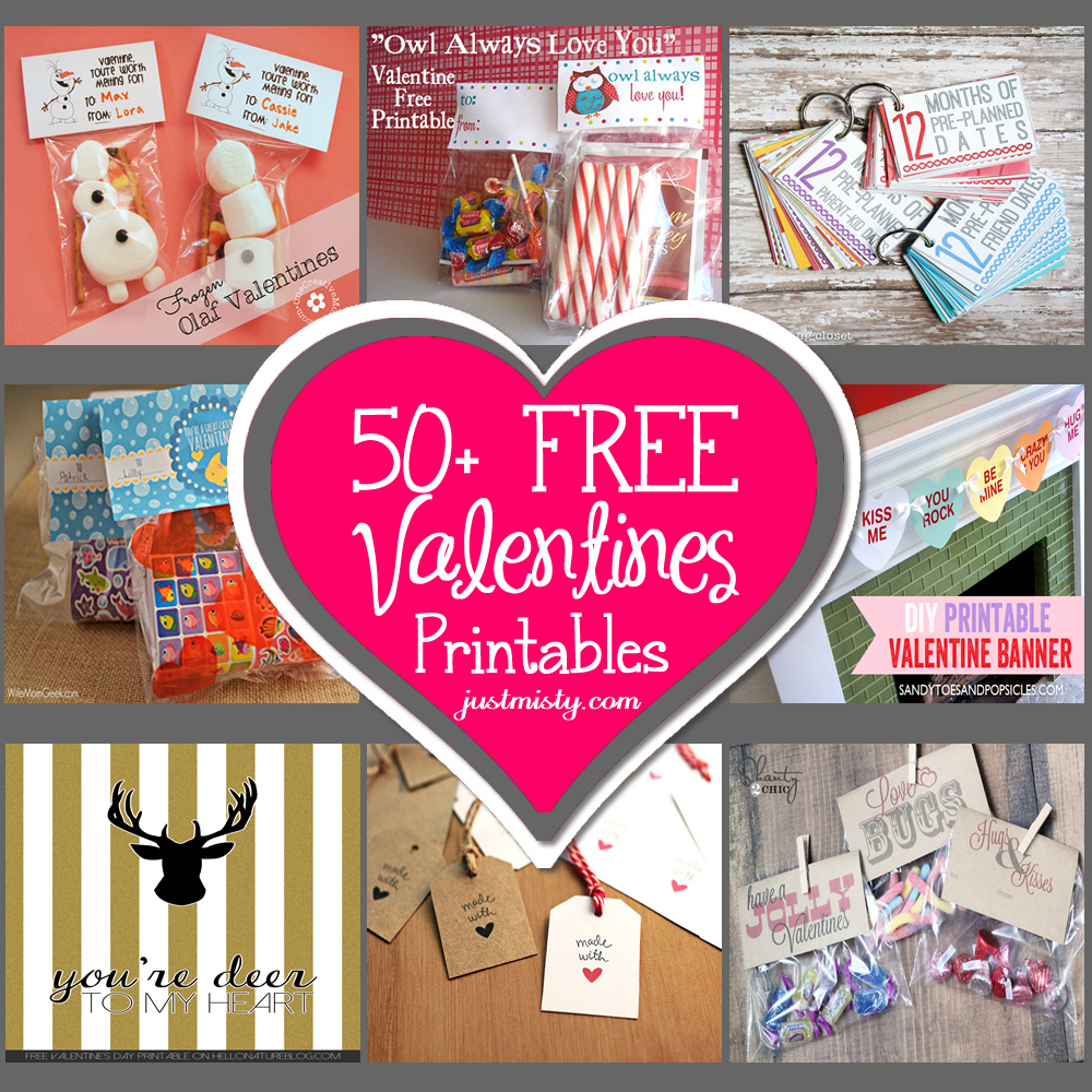 List Of Free Valentine's Printable Cards, Banners, Bag Toppers, Tags - Free Printable Valentine Decorations
