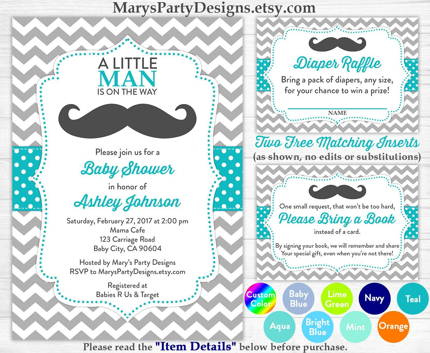 Little Man Baby Shower Invitation - Boy Baby Teal Blue Mustache - Free Printable Diaper Raffle Tickets For Boy Baby Shower