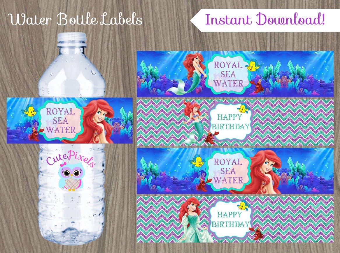 Little Mermaid Water Bottle Label Ariel Bottle Label Disney   Etsy - Free Printable Little Mermaid Water Bottle Labels