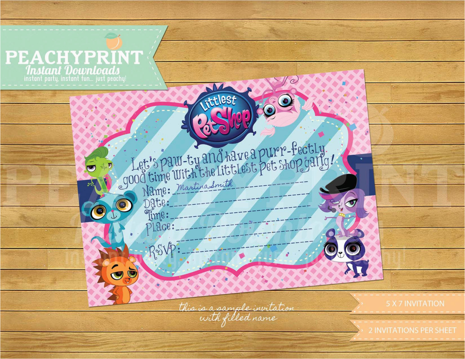 Littlest Pet Shop Birthday Invitations | Birthdaybuzz - Littlest Pet Shop Invitations Printable Free