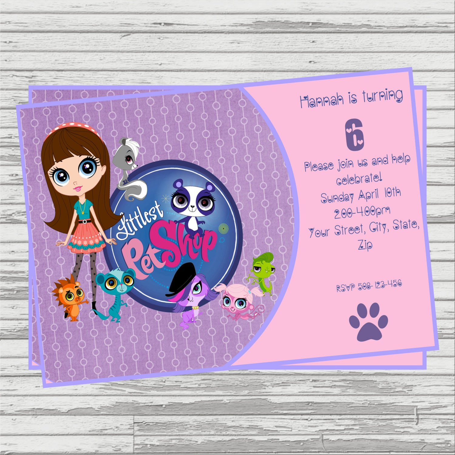 Littlest Pet Shop Digital Birthday Invitation. | Etsy - Littlest Pet Shop Invitations Printable Free