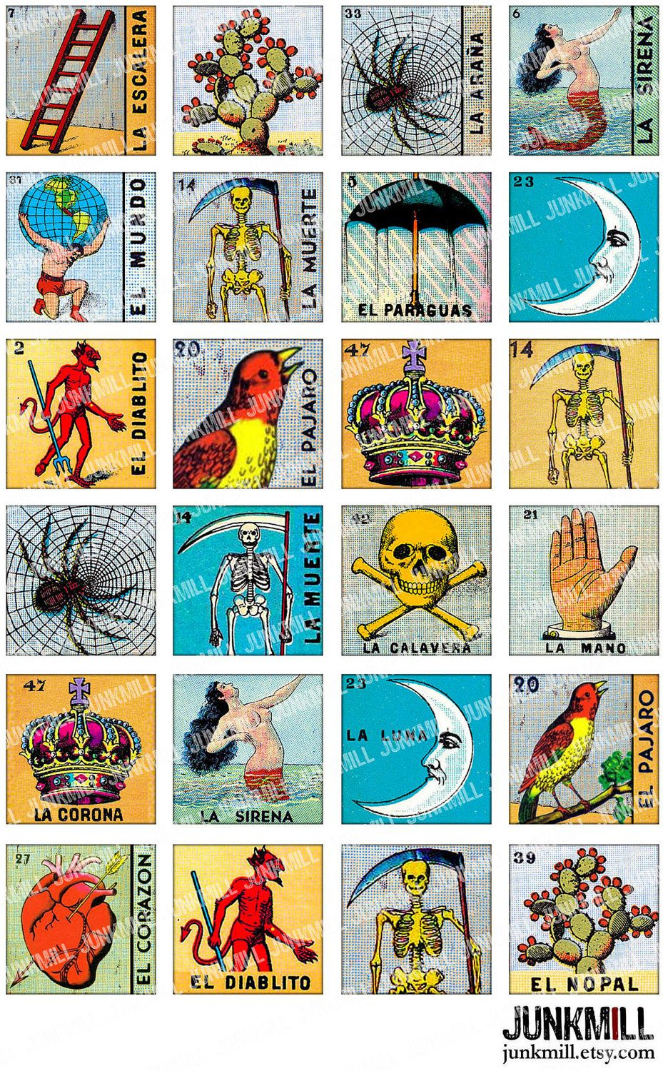 Loteria - Collage Sheet - Vintage Loteria Cards, Mexican Bingo, Day - Loteria Printable Cards Free