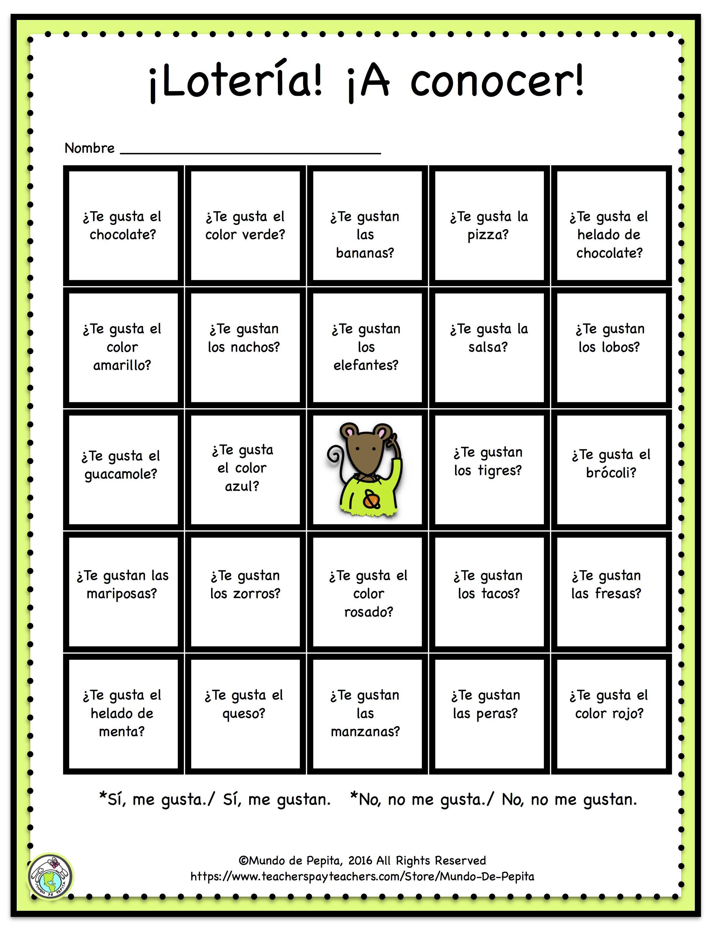 Loteria Printable Game Board Featuring Gustar | Spanish Kids - Free Printable Loteria Game
