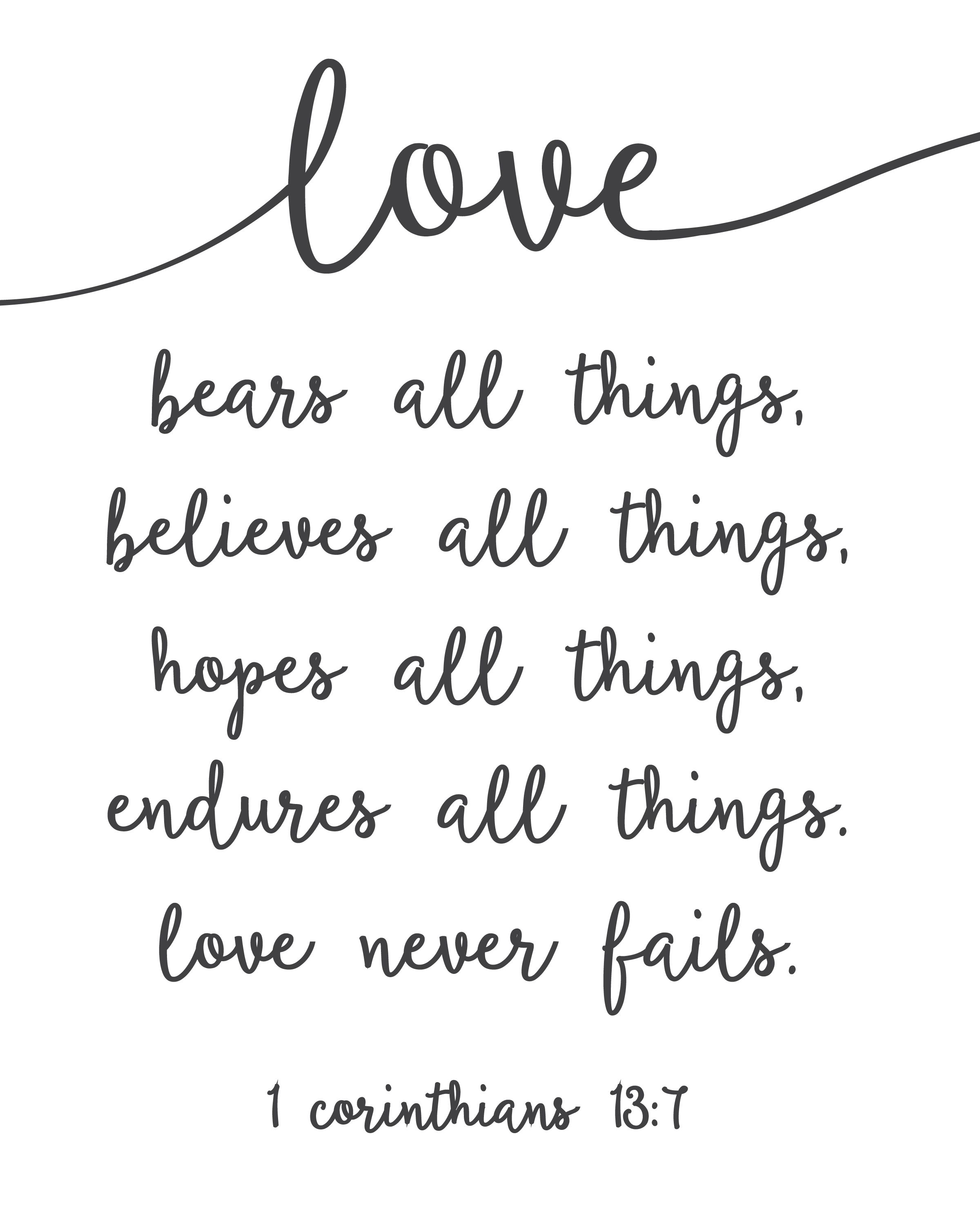 Love Never Fails - Free Printable | Free Printables | Wedding Quotes - Love Is Patient Love Is Kind Free Printable