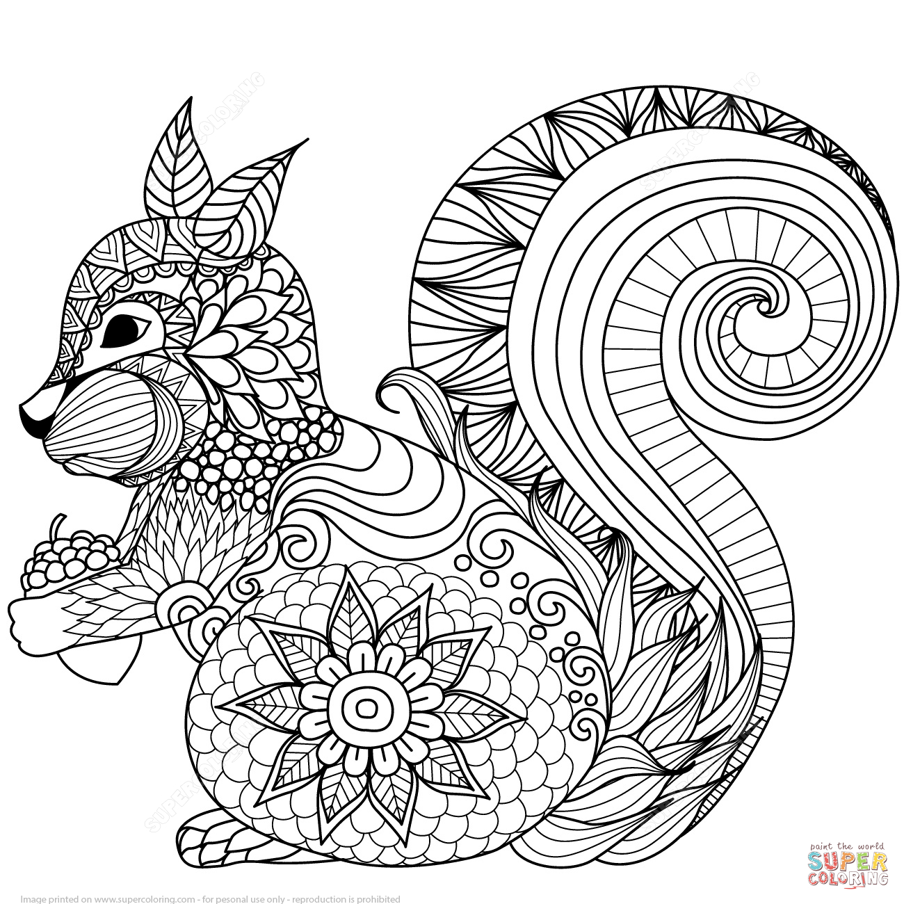 Lovely Squirrel Zentangle Coloring Page | Free Printable Coloring Pages - Free Printable Zen Coloring Pages