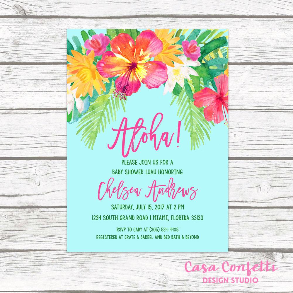 Luau Baby Shower Invitation, Tropical Baby Shower Invitation, Aloha - Free Printable Luau Baby Shower Invitations