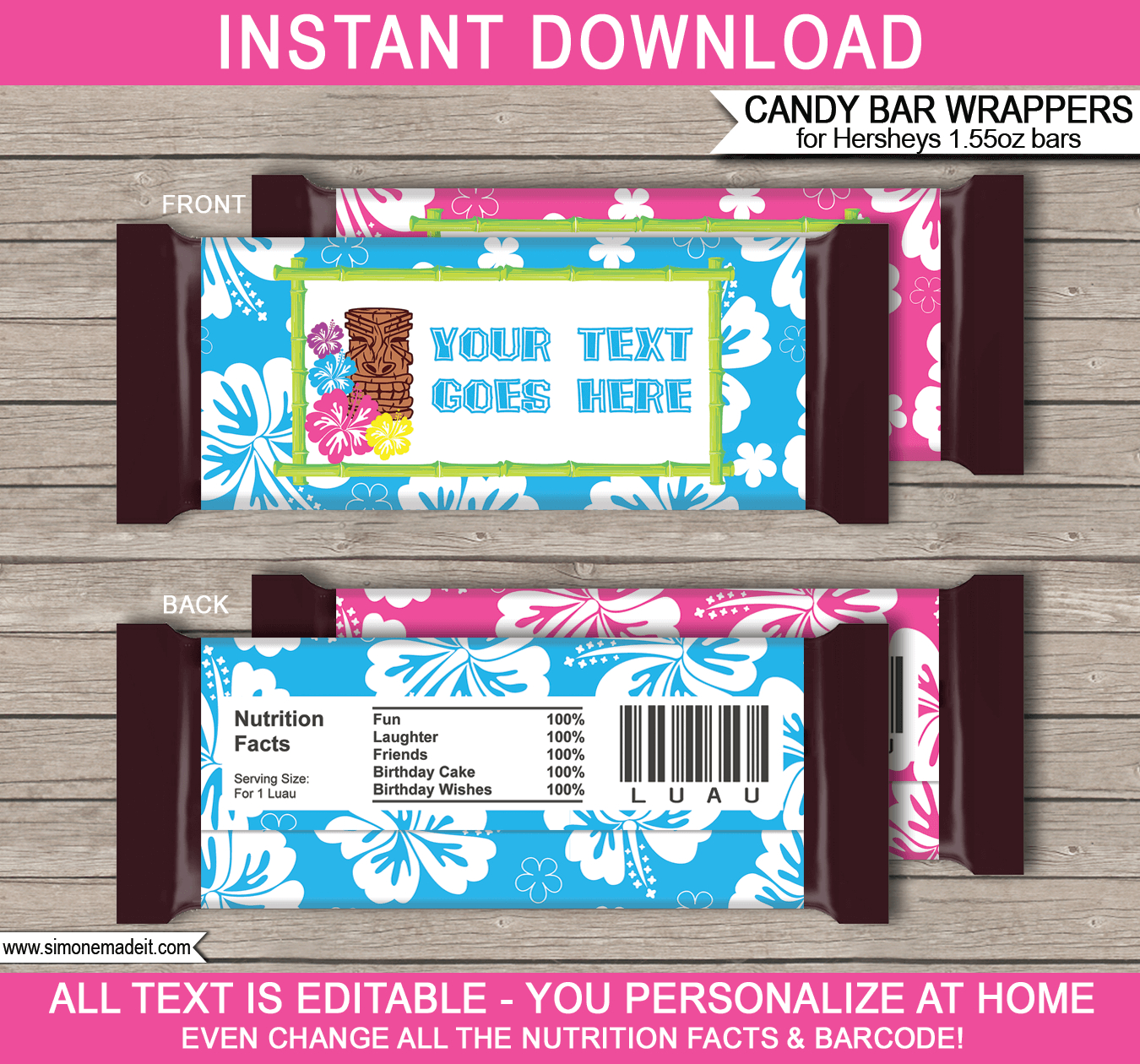 Luau Hershey Candy Bar Wrappers Template - Free Printable Candy Bar Wrappers