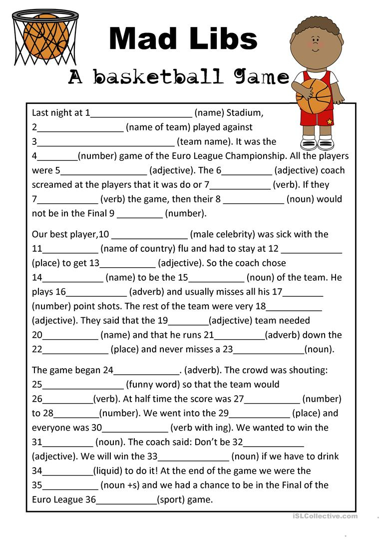 Mad Libs Parts Of Speech Basketball Game Worksheet - Free Esl - Free Printable Mad Libs