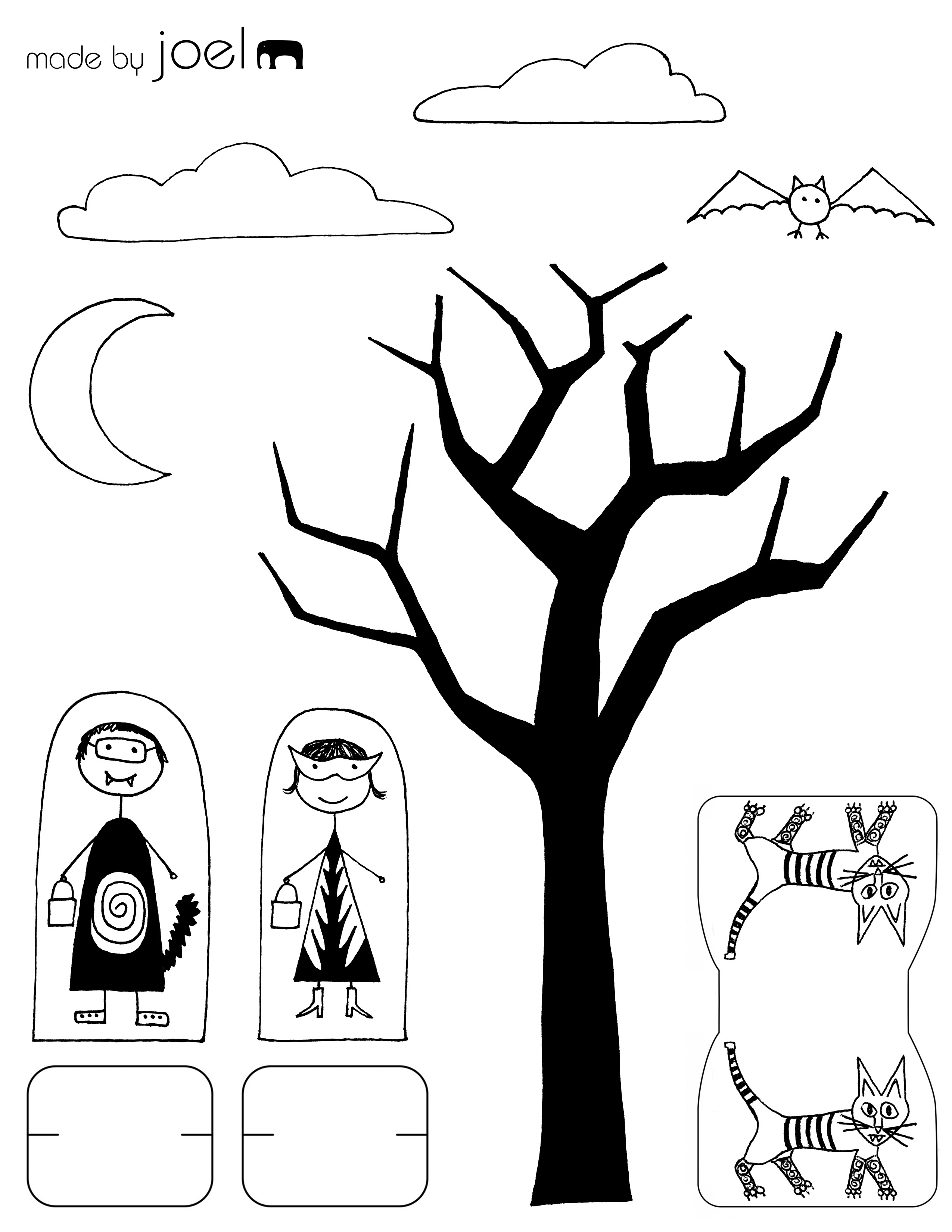 Madejoel » Madejoel Trick Or Treat Paper City Scene Printout - Free Printable Halloween Paper Crafts