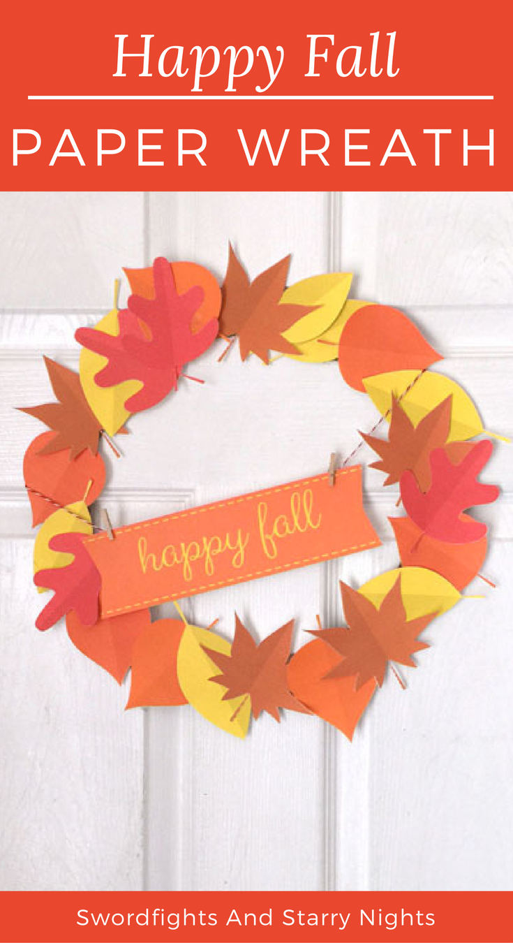 Make Your Own Happy Fall Paper Wreath! Free Printable & Cricut Cut - Free Printable Autumn Paper