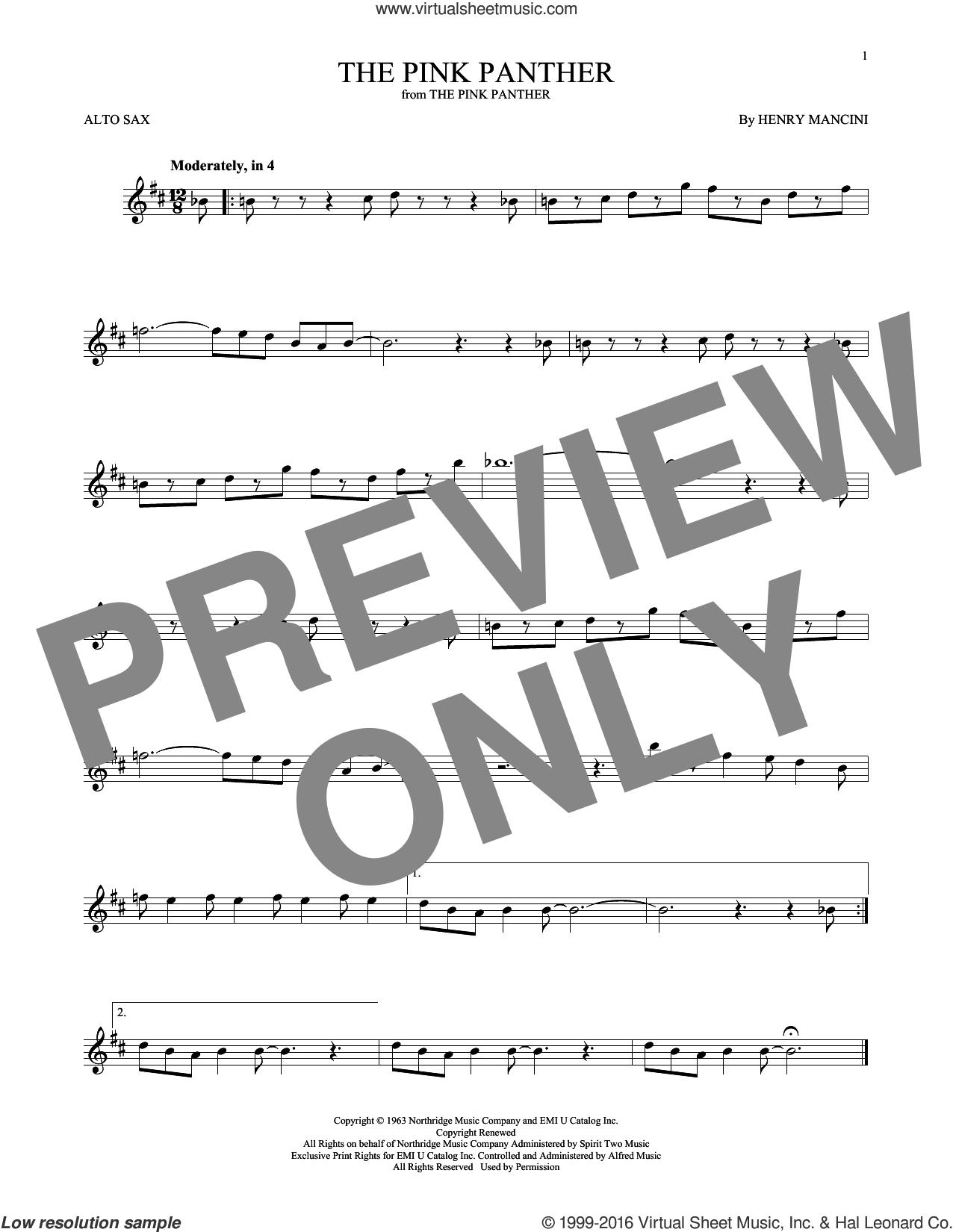 Mancini - The Pink Panther Sheet Music For Alto Saxophone Solo - Free Printable Alto Saxophone Sheet Music Pink Panther