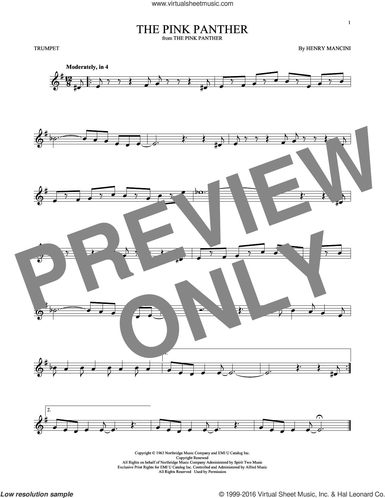 Mancini - The Pink Panther Sheet Music For Trumpet Solo [Pdf] - Free Printable Trumpet Sheet Music Pink Panther