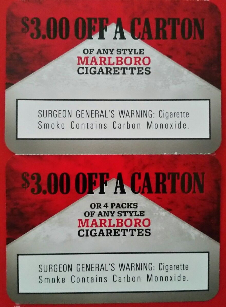 Marlboro Coupons $6.00 - 1 Carton Or 4 Packs (#132219240409) - Gift - Free Pack Of Cigarettes Printable Coupon