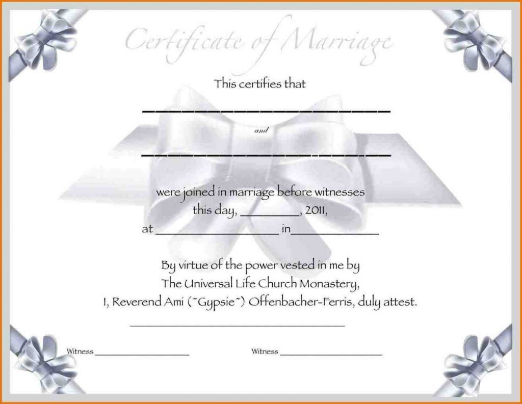 Marriage Certificate Template Free Images - Free Certificates For All - Free Printable Wedding Certificates
