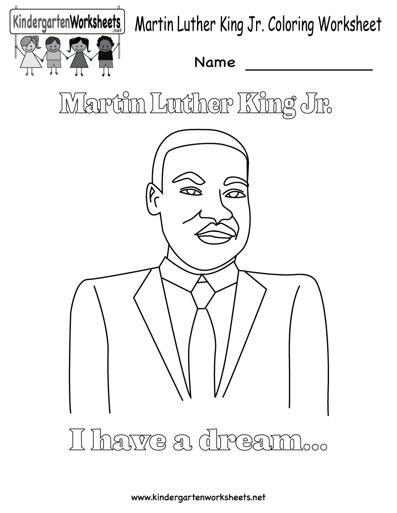 Martin Luther King Jr Coloring Pages | Martin Luther King Coloring - Free Printable Martin Luther King Jr Worksheets For Kindergarten