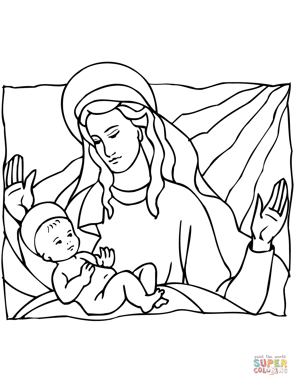 Mary And Baby Jesus Coloring Page | Free Printable Coloring Pages - Free Printable Christmas Baby Jesus Coloring Pages