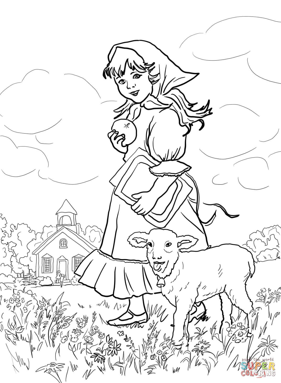 Mary Had A Little Lamb   Coloring Fairy Tale, Nursery Rhymes And - Free Printable Mother Goose Nursery Rhymes