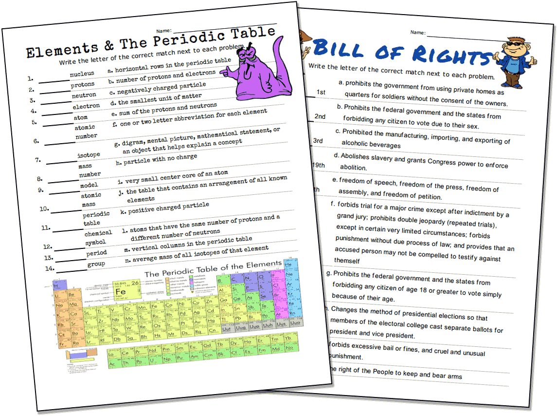 Match-Up Worksheet Maker - Free Printable Vocabulary Quiz Maker