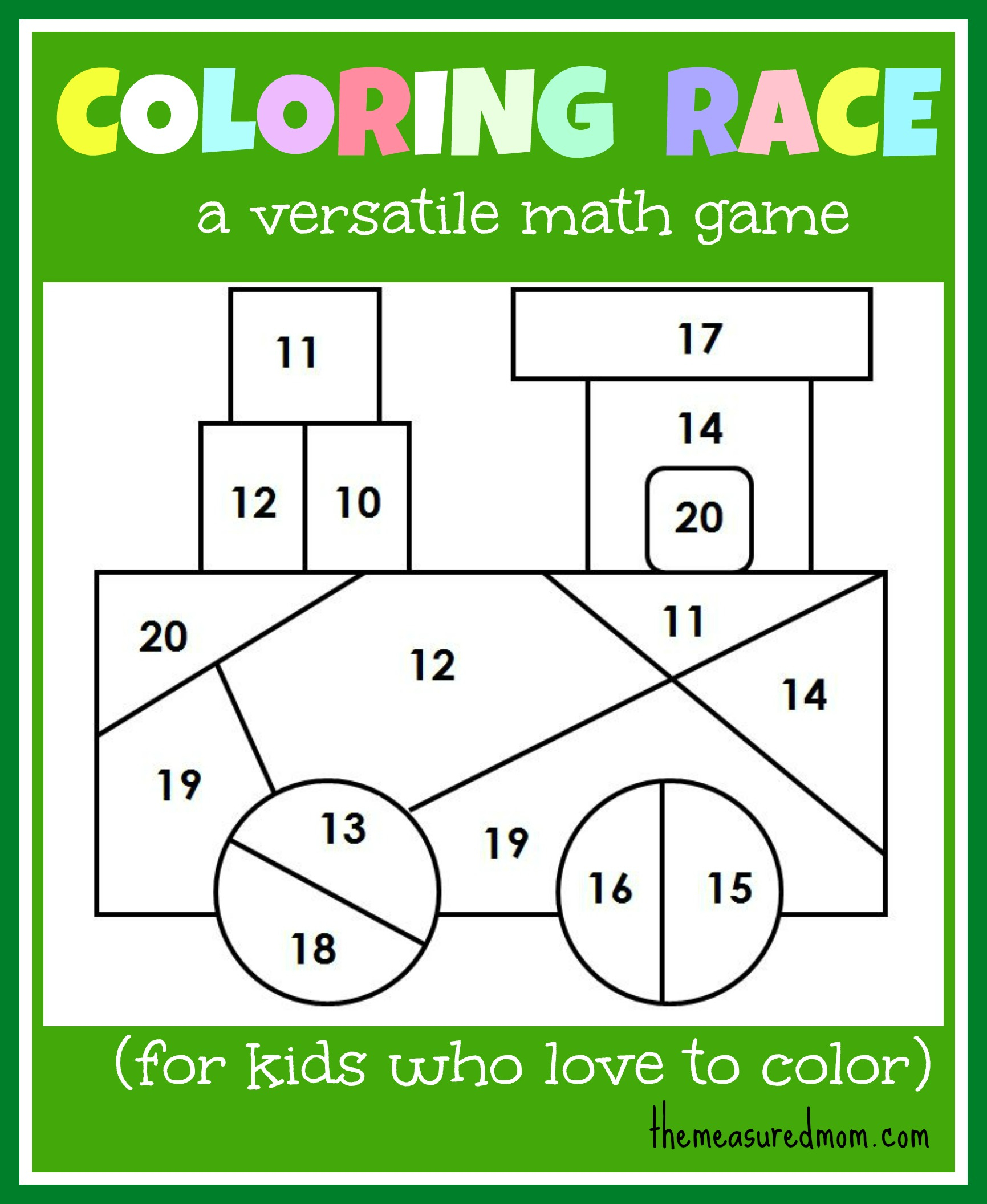 Math Game For Kids: Coloring Race Combines Math And Coloring - The - Free Printable Maths Games