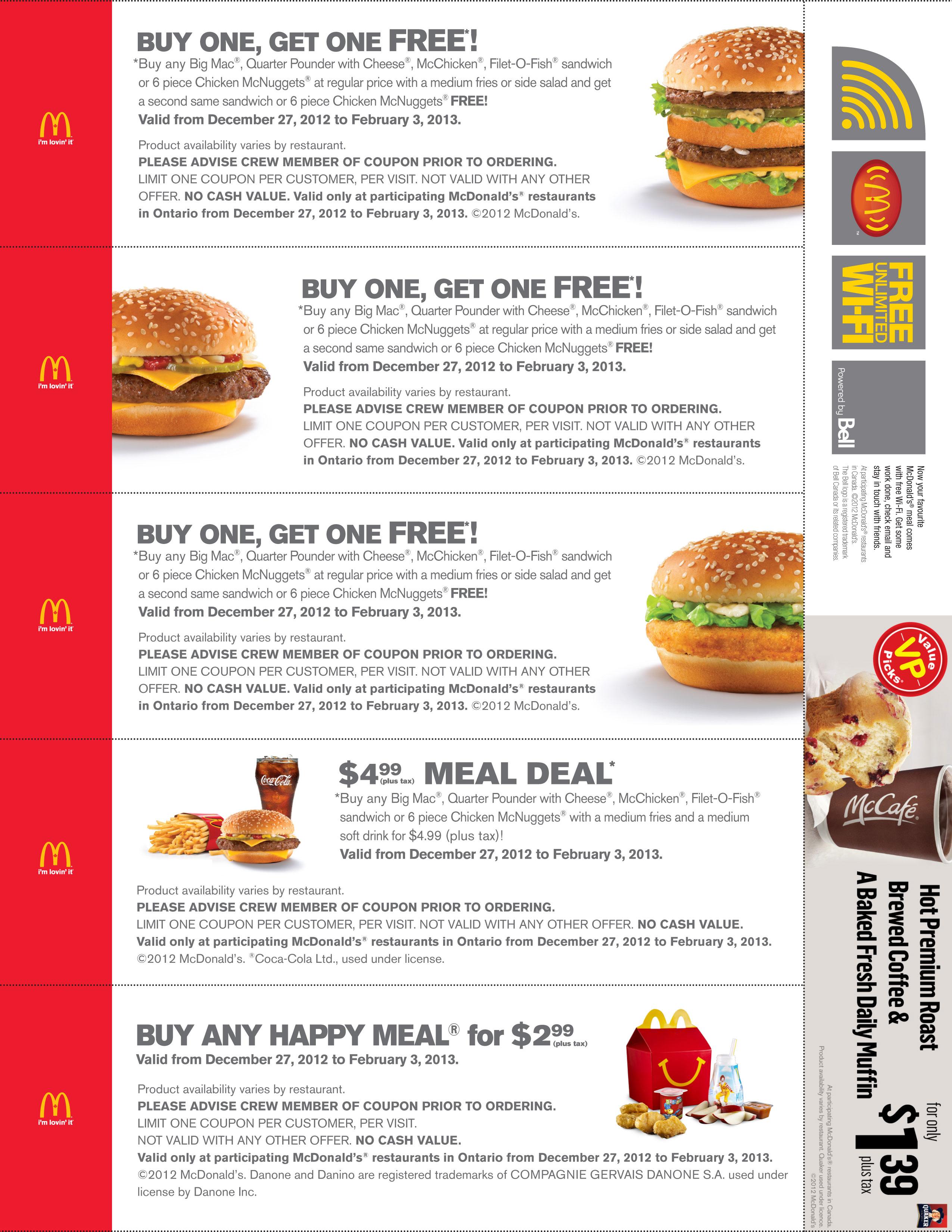 Mcdonald's Specials Bogo – Print Free Coupon (4) – Printable Coupons - Bogo Free Coupons Printable