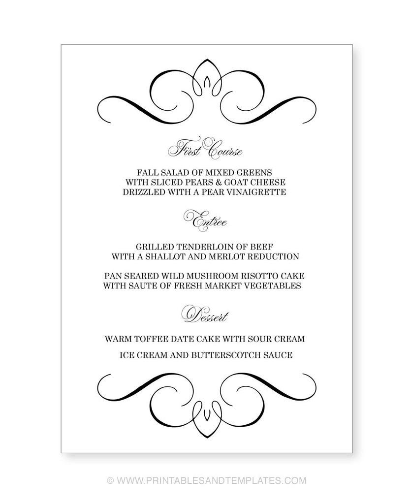 Menu Template Free Printable Printable Wedding Menu Templates Nice - Free Printable Menu Templates Word