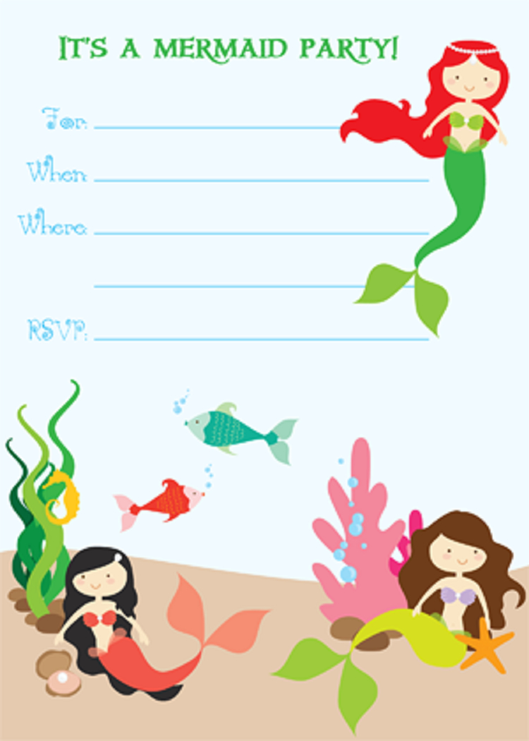 Mermaid Birthday Invitations Free Printables | Sabrina's Birthday In - Mermaid Birthday Invitations Free Printable
